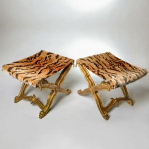 Linda Horn tiger giltwood stools